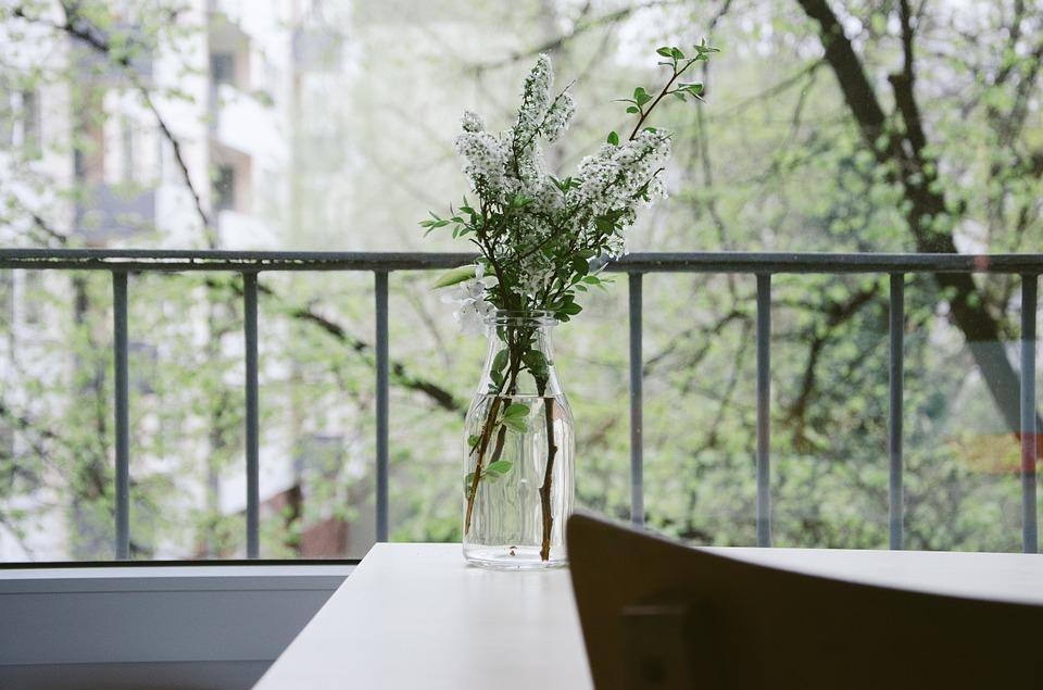 balkón, váza